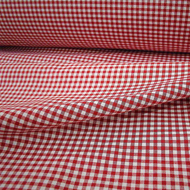 Tissu Grande Largeur Polycoton Vichy Rouge